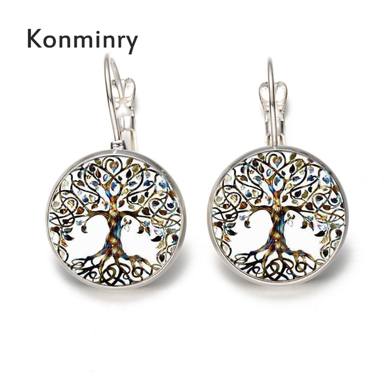 Konminry Classic Life Tree Earrings Round Glass Unique Leaves Design Drop Earrings For Women Gift Silver Bronze Colors Jewelry
