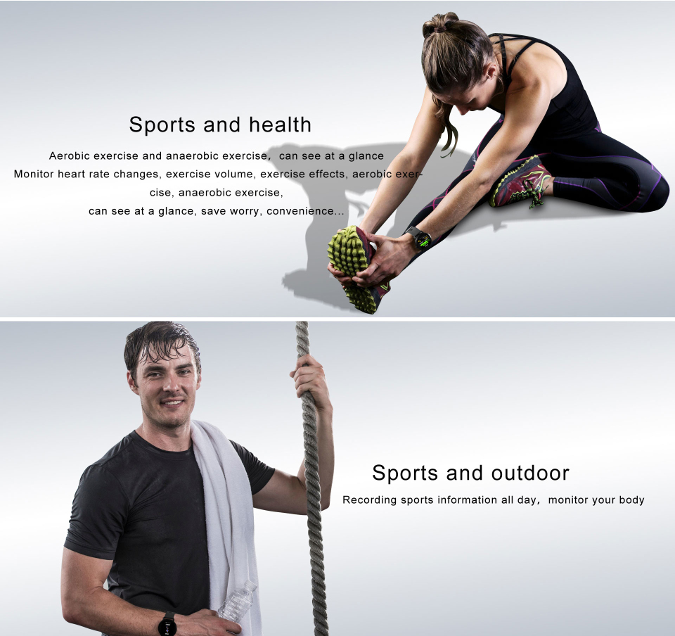 Sport watch smart tempered glass, waterproof, Android IOS Sports
