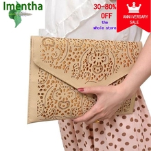 Cutout Women Clutch Bag Female Hollow Cut Out Brown Envelope Clutch Purse Chain Evening Clutch Bags