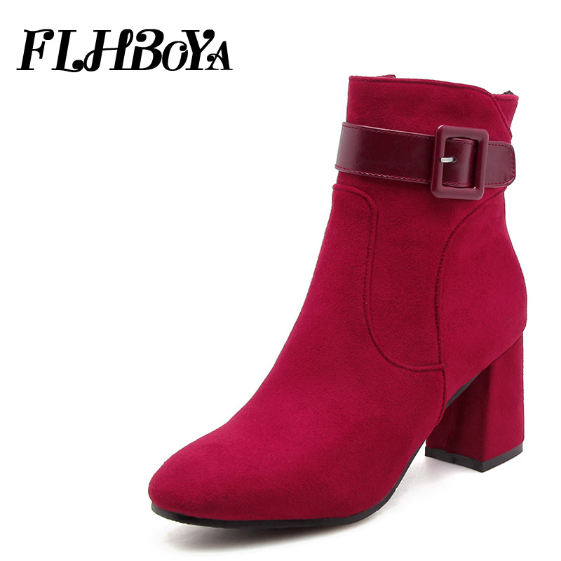 FHLBOYA New Women block heels Buckle Ankle Boots Woman Winter Warm Zipper High Square heel Mid-calf Short Boots Shoes Plus size vamolasc new women autumn winter leather mid calf boots warm crystal square high heel boots platform women shoes plus size 34 43