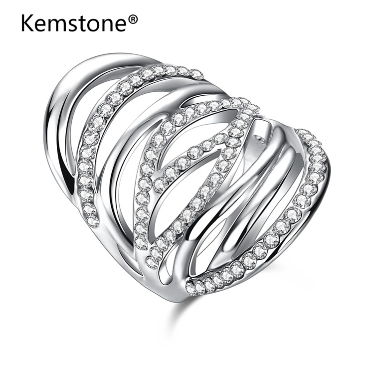 Kemstone Antique AAA Zircon Crystal Ring Multilayer Vintage Silver Color Cross Double X Rings for Women Finger Luxury