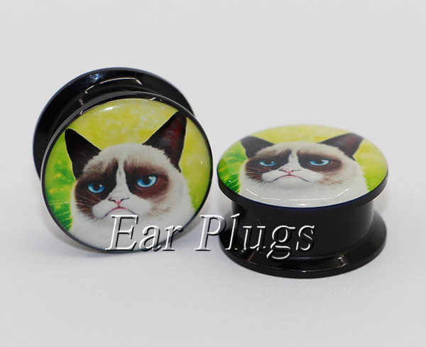 1 pair angry cat ear plug gauges tunnel acrylic screw flesh tunnel body piercing jewelry PAP0411