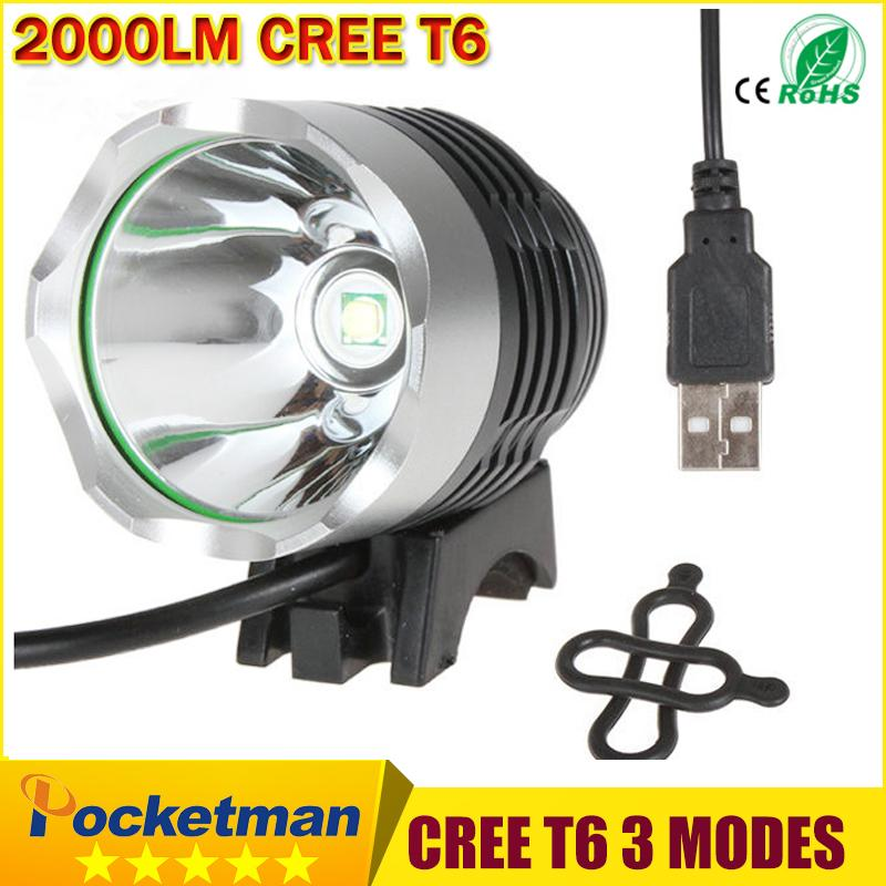 2000 Lumen CREE XM-L T6 LED Bicycle Headlight Lamp For Bike Cycling Bike Bicycle 3 Mode Waterpoof Front Light & USB