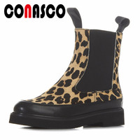 CONASCO Newest Leopard Ankle Boots Top Quality Horsehair Thick High Heels Autumn Winter Shoes Woman Short Motorcycle Boots