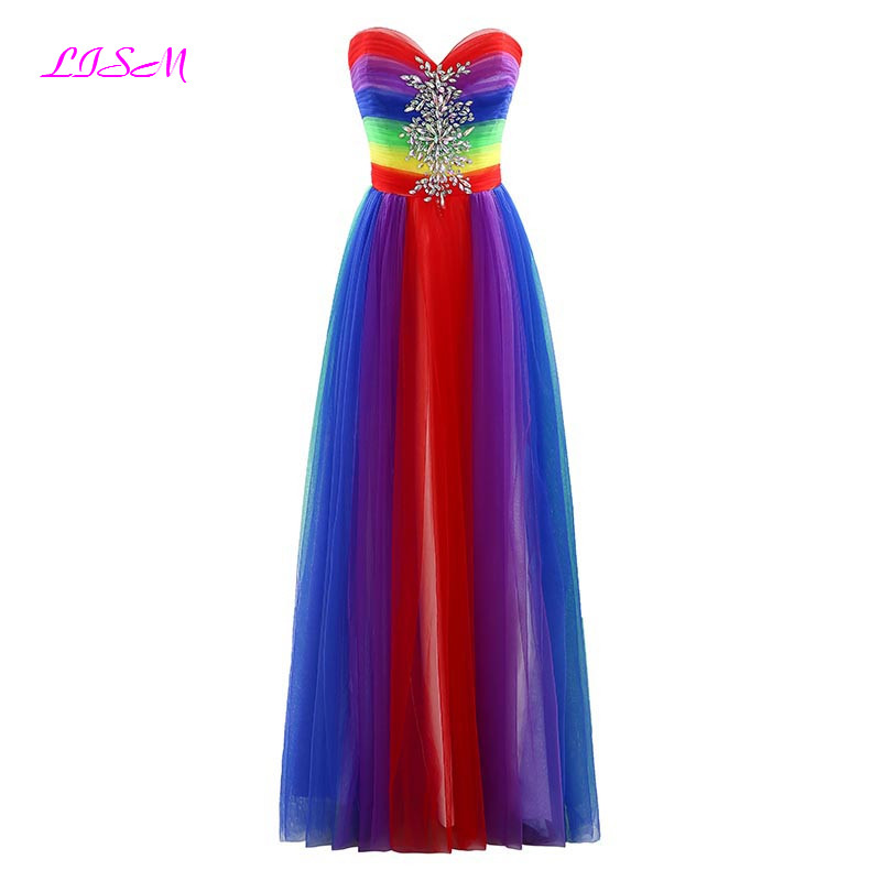 Real Photos Rainbow Color Long   Bridesmaid     Dresses   vestido longo Sweetheart A-Line Crystals Tulle Prom   Dress   Zipper up Party Gown