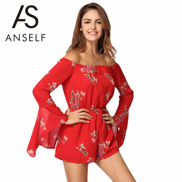 812ec4fe1db Anself Summer Off Shoulder Women Jumpsuit Sexy Floral Print Casual Beach  Overalls Plus Size Rompers Womens Jumpsuit Playsuit