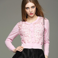 2017 Europe Spring Lace Flower Women O Neck Knitted Sweater Cardigan White Pink S M L