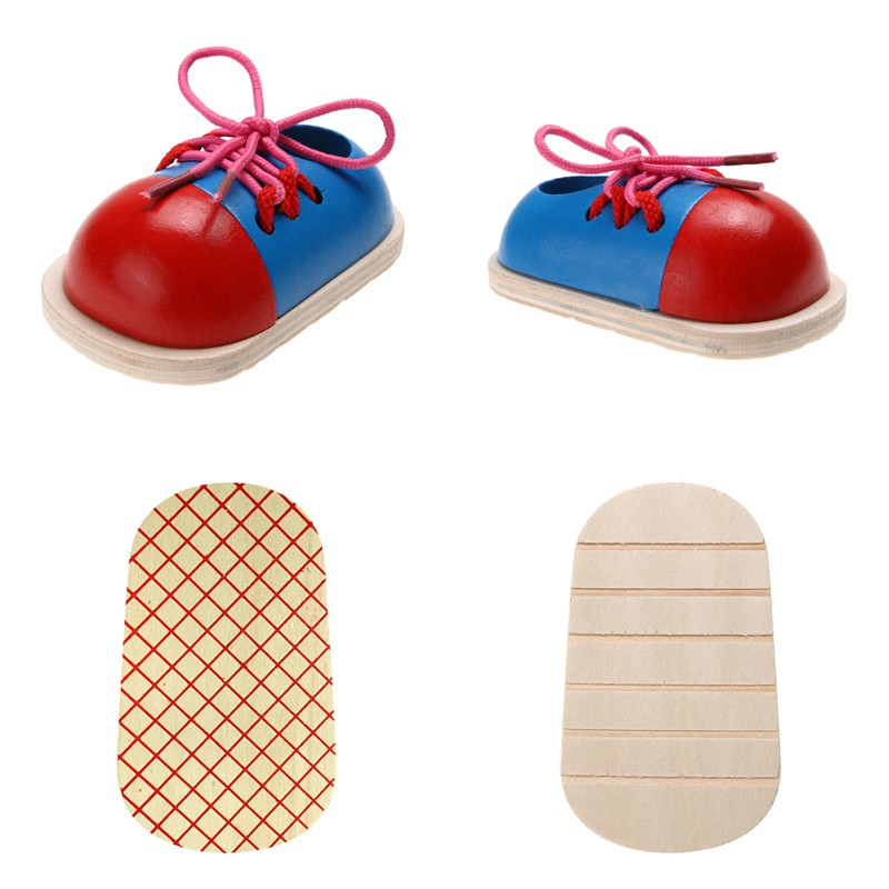1pc Kids Montessori Educational Toys Children Wooden Toys Toddler Kids Lacing Shoes Early Learning Toy Montessori Teaching Aids 4