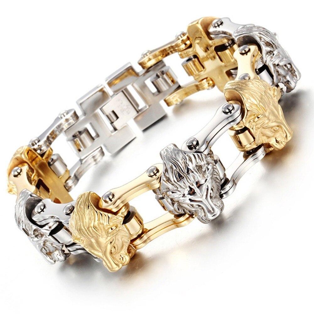 Haute qualité à la mode en acier inoxydable argent or moteur chaîne de vélo tête de Lion hommes bijoux Bracelet Bracelet cadeau de noël 8.26