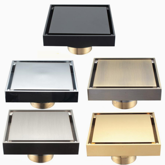 Brass Shower Drain Bathroom Floor Drain Tile Insert Square Anti odor Floor Waste Grates 100X100 DR187Drains   -