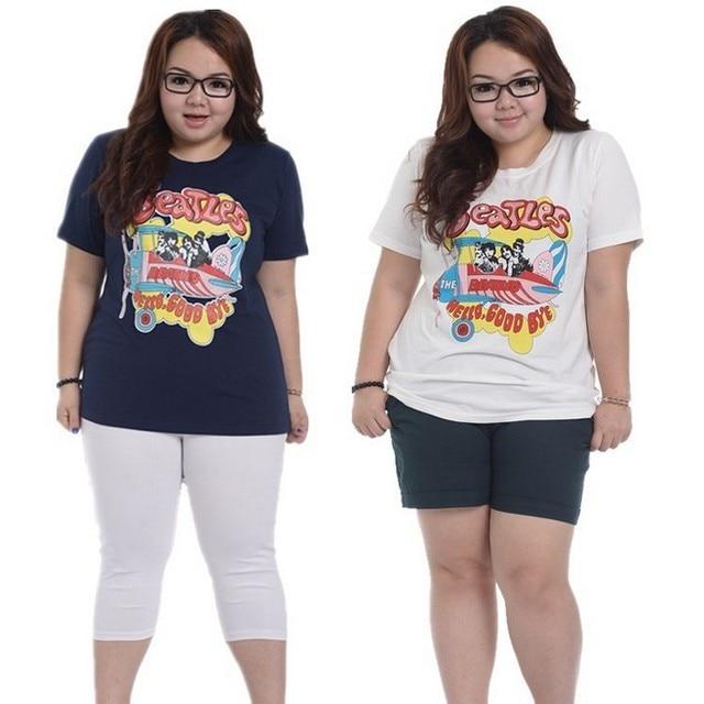 d5bf123c88a Print Women T Shirt Big Size Female Plus Size Clothing Loose Tops Korean  2016 High Quality Summer Slim Tees
