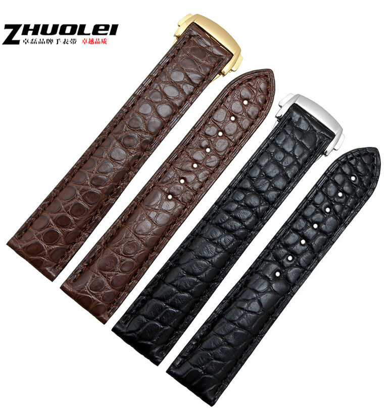 Watch Band 20mm New Mens Black 100% alligator genuine leather watchband Watch strap free shipping original new 9 inch fpc bf0119b40ia fpc bf0119b40ib in screen lcd screen