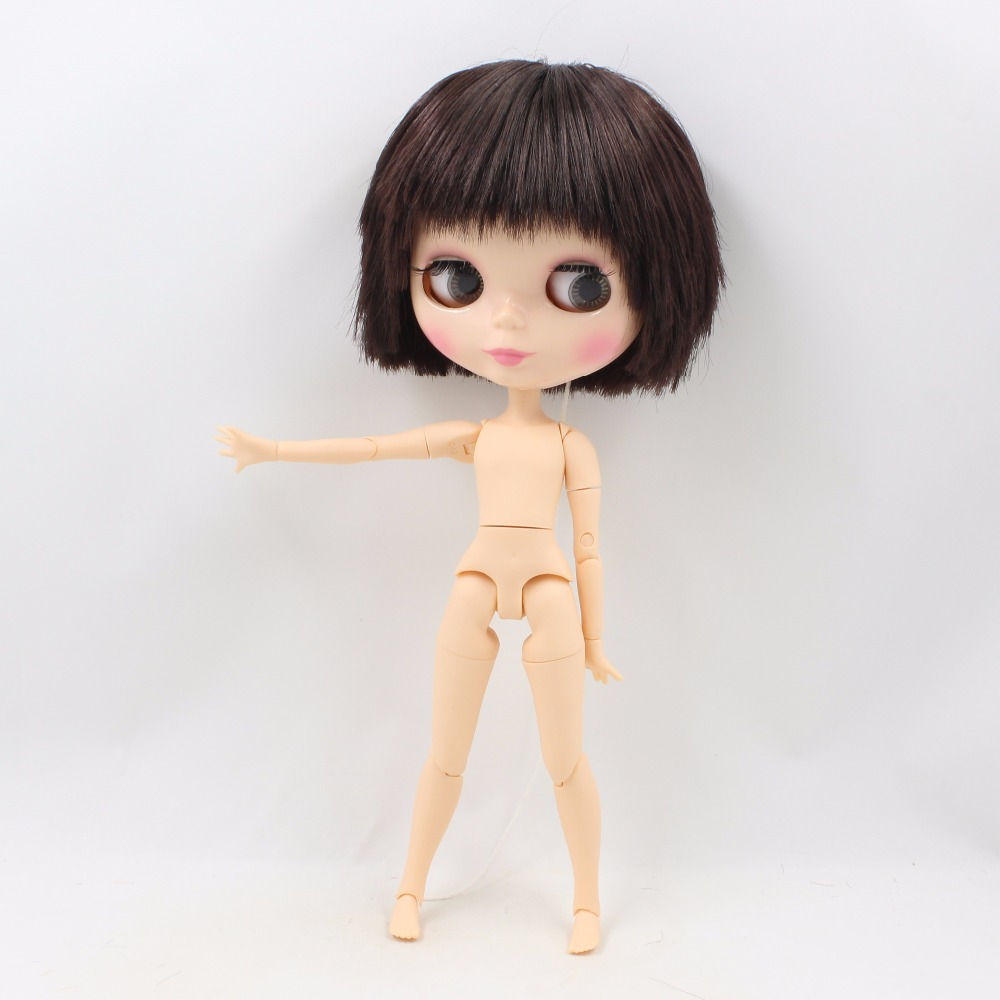 """12/"""" Blythe factory Nude Doll Black Skin Wine Red Hair Jointed Body Matte Face"""