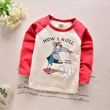 Boys and girls 2016 spring new Korean alphabet cartoon Tracy bottoming shirt long-sleeved T-shirt
