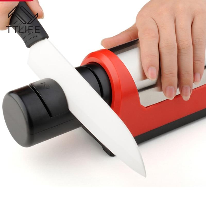 TTLIFE Professional Electric Diamond Ceramic Kitchen Knife Sharpener 2 Stage Grinder Sharpening EU Plug In Sharpeners From Home Garden On