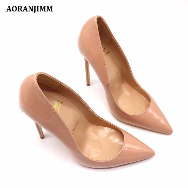 Free shipping real pic AORANJIMM claiss nude patent leather office lady OL style women lady 120mm high heel shoes pump 5
