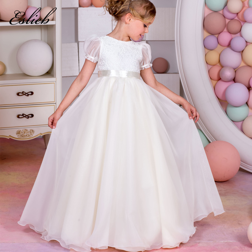 Fancy Vestidos Holy Communion Puffy Bow Lace Christmas Little Girls Long Short Sleeves Tulle Ball Gowns 2017 New 0 12 Year Old