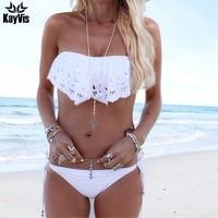 KayVis Bandeau Sexy Bikini de Ganchillo de Las Mujeres traje de Baño Brasileño del traje de Baño Femenino Push Up Bikini Set Mujeres Trajes de Baño Ropa de Playa