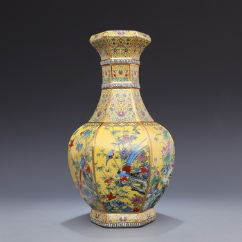 Jingdezhen Antique Ceramic Vase Qianlong year mark enamel gold hexagon flower and bird vase decoration antique porcelain collect