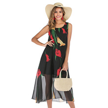 2019 women summer dress fashion chiffon printed one piece dress sleeveless floral loose mid calf dress