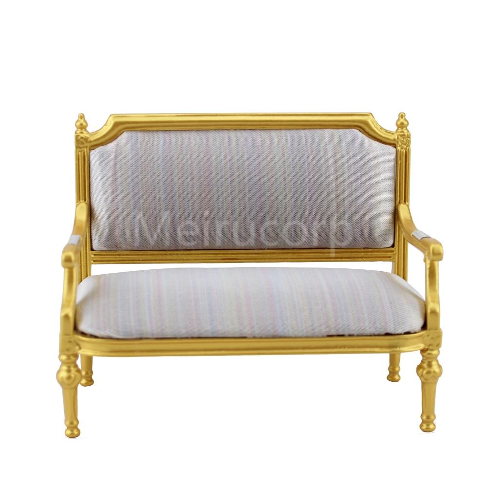Dollhouse miniature 1 12 scale Living Room Furniture Golden luxury double sofa