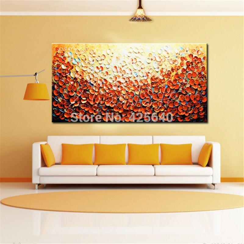 hand gemalte palettenmesser blumen Ölgemälde wandkunst ... - Moderne Leinwandbilder Wohnzimmer