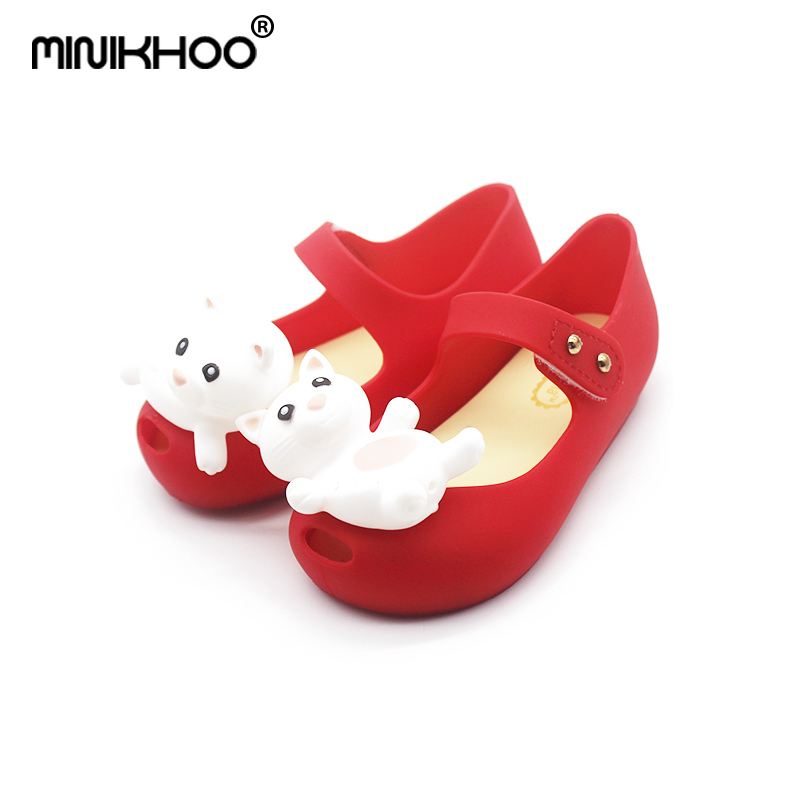 Mini Melissa 5 Color High Quality Bear Pattern Girl Jelly Sandals 2018 New Children Shoes Melissa Sandals Non-slip Princess Shoe