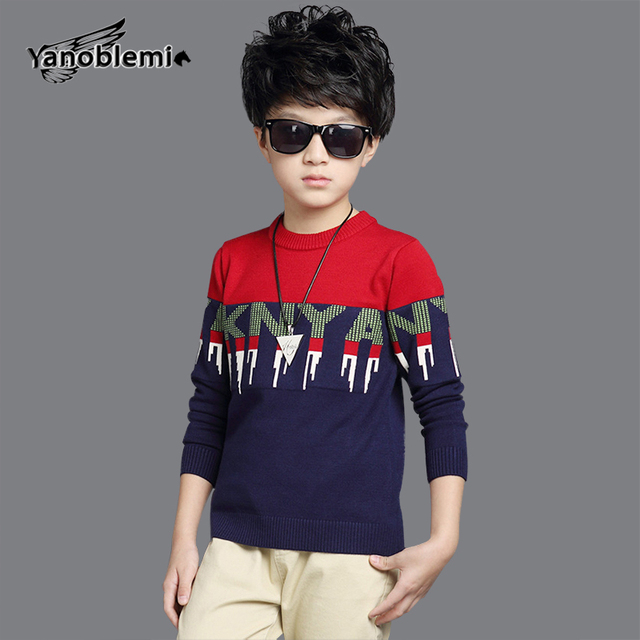 e47261729 New Big Boys Brand Sweater Children Letter Two Color Stitching ...