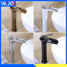 где купить Tall Basin Faucets Waterfall Bathroom Faucet Single Handle Basin Mixer Tap Bath Antique Faucet Brass Sink Water Hot and Cold Tap дешево