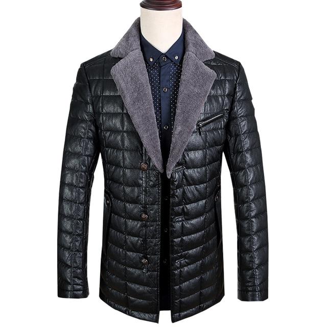 2016 nuevo invierno mantener caliente 90% de pato Blanco abajo PU y lana chaqueta de cuello de los hombres, M, L, XL, 2XL, 3XL, negro abrigo de invierno de los hombres