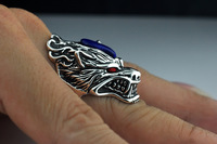 S925 tai yinnan red pomegranate color sterling silver ring vintage lapis lazuli gold stone ring with an open personality fashion