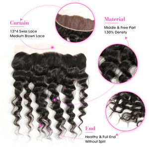 """Image 2 - ALI ANNABELLE HAIR Brazilain Loose Wave 13x4 Lace Frontal Remy Human Hair Transparent Lace Frontal/Medium Brown 130% 10"""" 20"""""""
