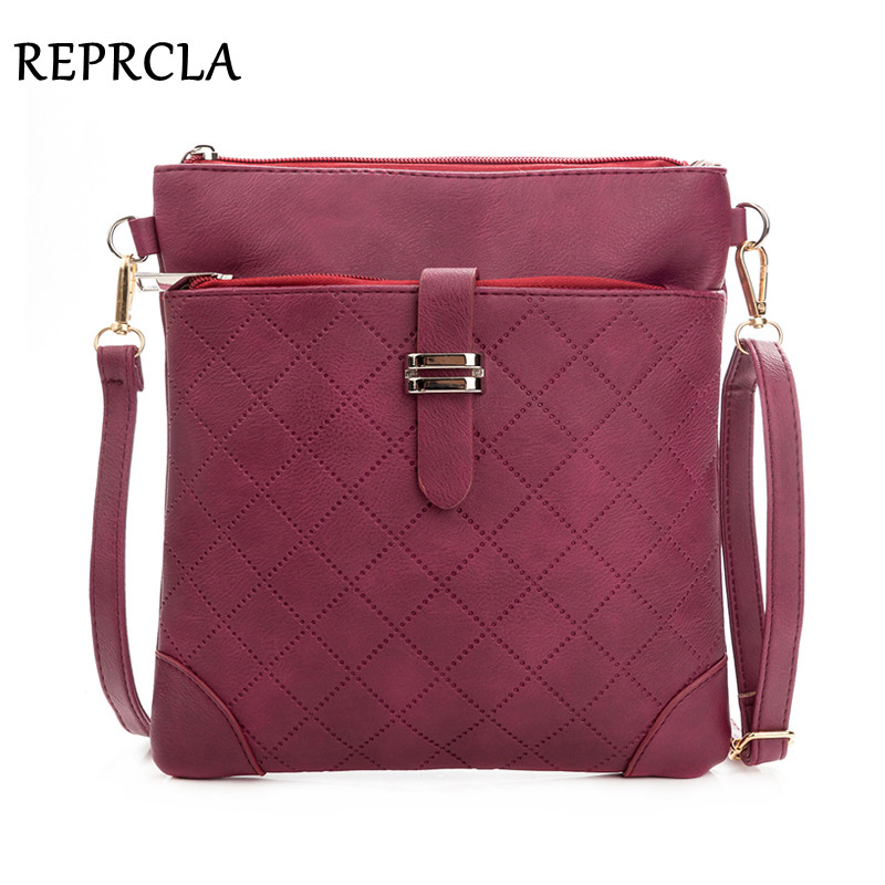 купить REPRCLA Brand Double Zipper Women Messenger Bags Plaid PU Leather Shoulder Bag Small Flap Simple Crossbody Bags Handbag Purse по цене 609.94 рублей