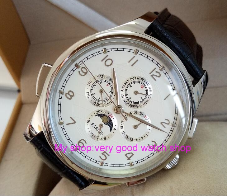 лучшая цена 44MM PARNIS Automatic Self-Wind movement white dial multi-funtion men's watch Mechanical watches 128