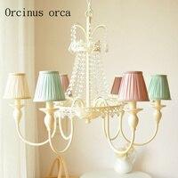 Luz e luxuoso colorido de cristal europeu lustre sala de estar quarto quarto das crianças decoração lustre antigo