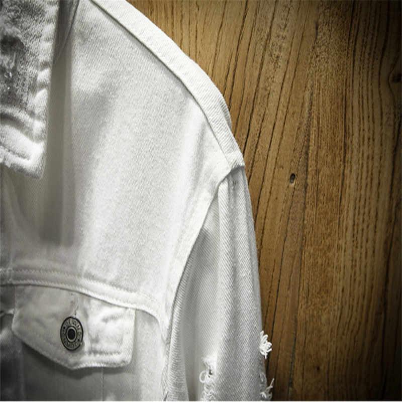 デニムジャケットの男性が穴メンズピンクホワイトジーンズジャケット新 2019 衣服洗浄メンズデニムコート