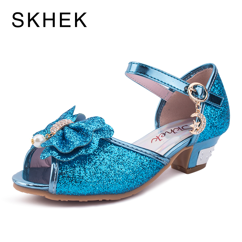 5c16c6bb8788 SKHEK Children Sandals For Girls High Heels Hot Sale New Children Shoes  Baby Pink Gold SIlver Shoes Student Flower size