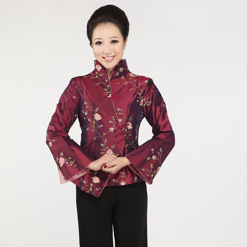New Black Chinese Women's Silk Coat Traditional Embroidered Tang Suit Flower Jacket Tang Suit Top Traditional Chinese Clothing