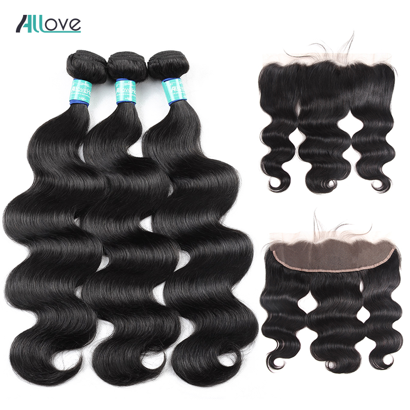 Allove Body Wave Bundles With Frontal Brazilian Hair Weave Bundles With Closure Remy Human Hair Bundles