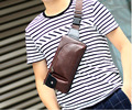 New Fashion Men Crazy horse PU Leather Vintage Messenger Shoulder Sling Chest Hip Belt Bum Fanny Pack Waist Bag