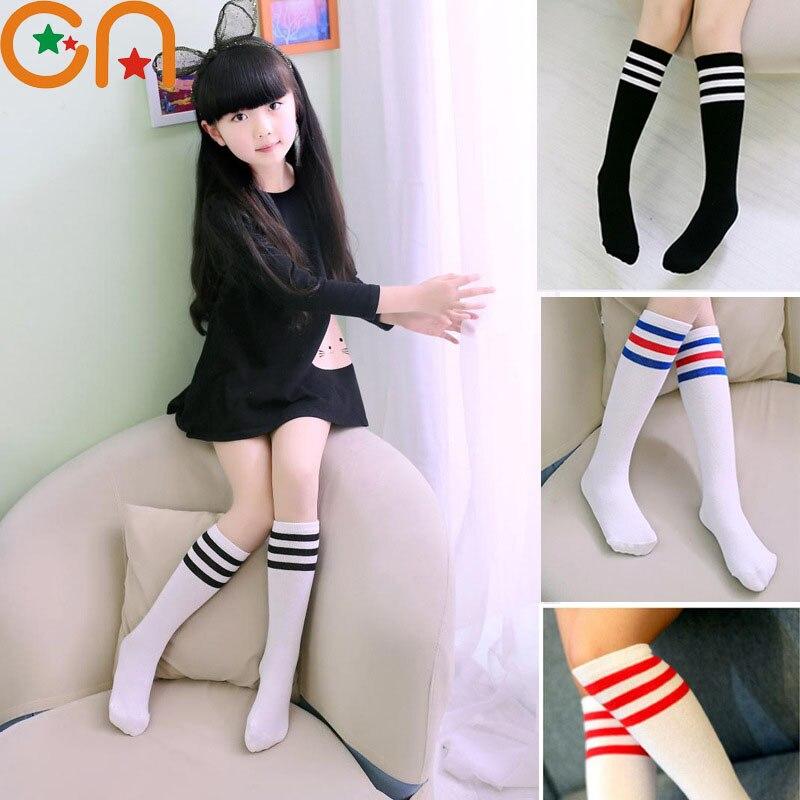 1-10 let Baby Dívky čistá bavlněná móda Podkolenky s vysokým pruhem na koleno Dětské studenty Sportovní ponožky Jaro / Léto Dětské oblečení CN