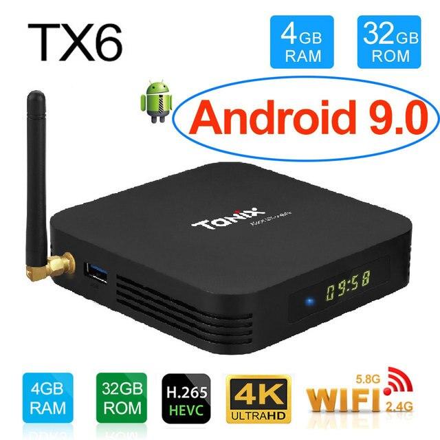 Tanix TX6 Smart TV Box 4GB 32GB Android 9.0 TV Box 4K Allwinner H6 Quad Core USD3.0 Dual Wifi Google Player Youtube pk TX3 max
