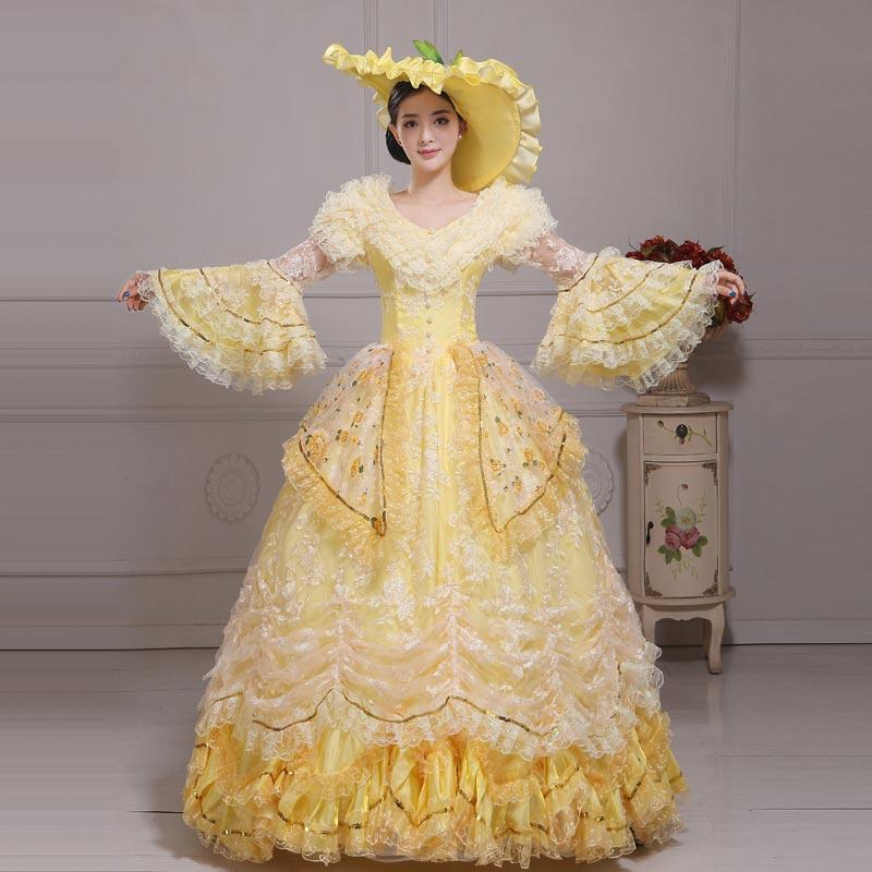 Personnalisé 2018 jaune maille v-cou à manches longues évasées Marie Antoinette robes blanc dentelle fleur mascarade fête robes de bal
