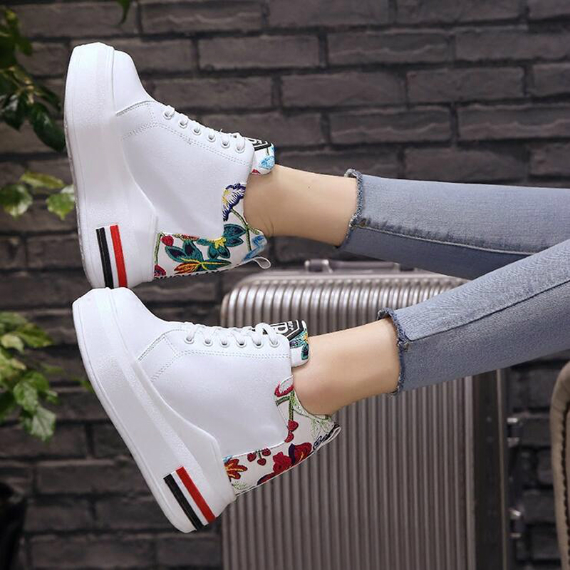 WGZNYN Summer Women High Platform Shoes Height Increasing Ladies Sneakers Spring Trainers Pu Leather Shoes woman Casual Shoe W55 2