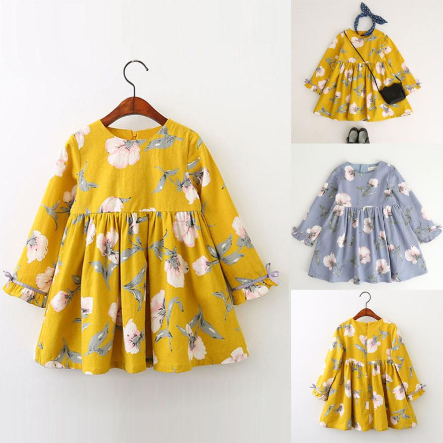 TELOTUNY 2018 flower Kids girl dresses for Toddler Kids Baby Girl Clothes Long Sleeve Floral Bowknot Party Princess Dresses J30 cute long sleeve ankle length girl dresses for weddings and party summer 2017 exquisite bowknot girl o neck princess dresses p25