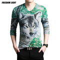 2016 Spring New Arrival Men's Knitted 3D Wolf Print T Shirt Long Sleeve Cotton V Neck T-Shirt Men Plus Size 4XL Knitted T-Shirts