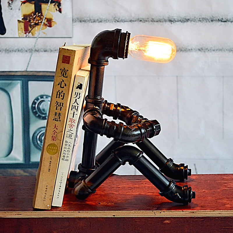 Nordic Minimalist Retro Wrought Iron Pipe Lamp Diy Robot Modern Metal Industry Wind