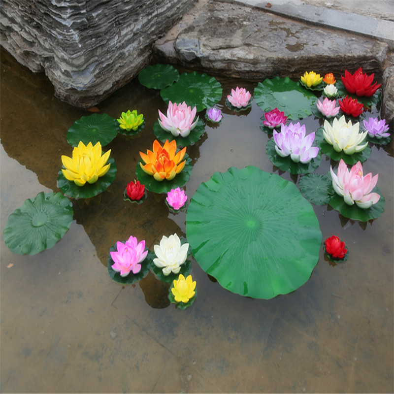 1PCS / lot 17CM Decorative Garden Artificial Fake Lotus Water Lily Floating Pool Plant Wedding Garden Decoration