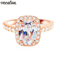 Vecalon Office Lady Finger Jewelry 925 Sterling Silver ring Cushion cut 5A Zircon Cz Party wedding Band rings for women Gift