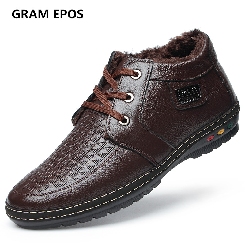 GRAM EPOS Men High Quality Winter Warm Plush Oxfords Casual Shoes Men Dress Business Lace Up flats Zapatos De Hombre Male botas gram epos men casual shoes top quality men high top shoes fashion breathable hip hop shoes men red black white chaussure hommre